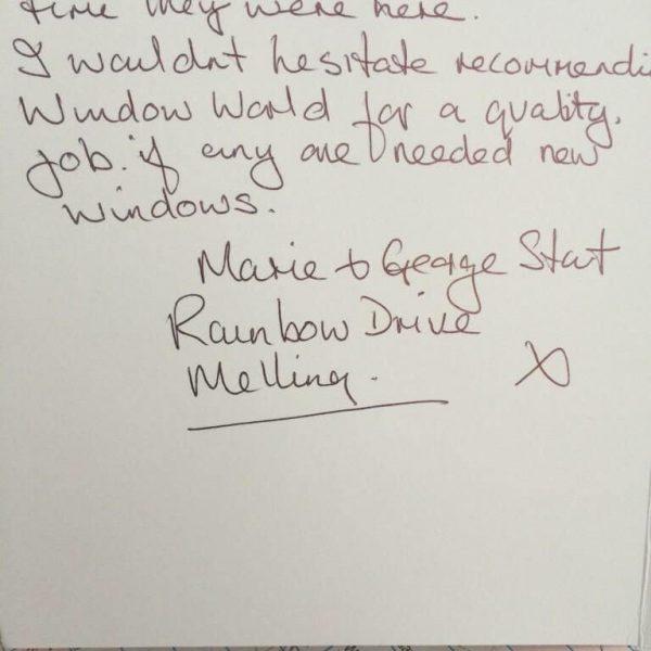 Windoworld UPVC Windows Doors Liverpool Chorley Testimonial